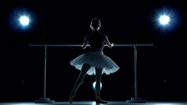ballerina in white tutu makes you lean forward. back view - balettstång bildbanksvideor och videomaterial från bakom kulisserna