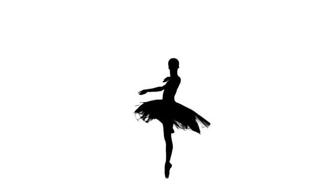 stockvideo's en b-roll-footage met ballerina making dance trick, fouetter, on white background, silhouette, slow motion - ballet