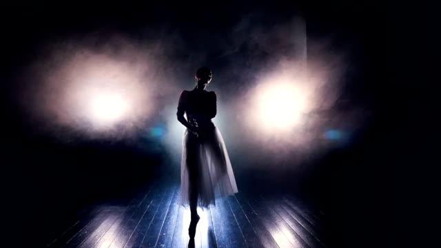 eine ballerina geht die kamera in tanzende bewegungen. - ballettröckchen stock-videos und b-roll-filmmaterial