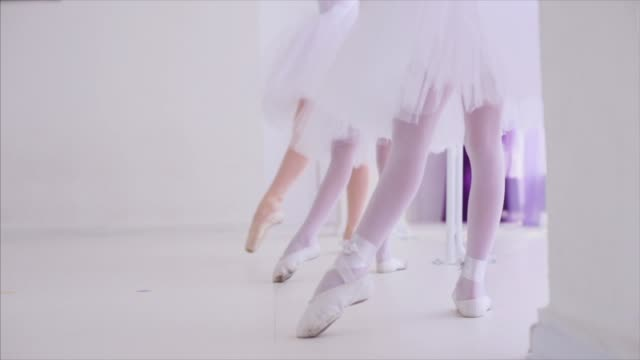 ballerinas repeat after the teacher exercises for the legs near barre stand. - tutù video stock e b–roll