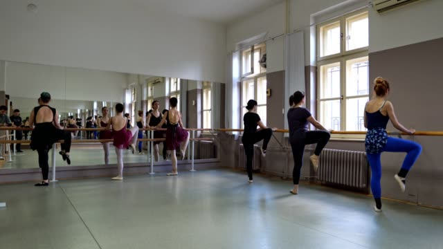 Ballet class of young women