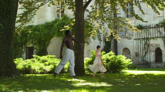 hd :dolly バレエ団の上演の城公園 - バレエ点の映像素材/bロール