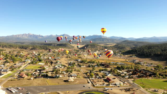 Balloon Festival by Drone Over Small Colorado City video