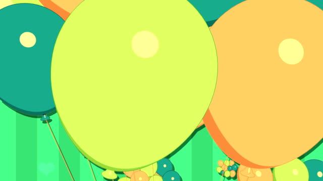 balloons and gift in green tone - blue yellow band bildbanksvideor och videomaterial från bakom kulisserna