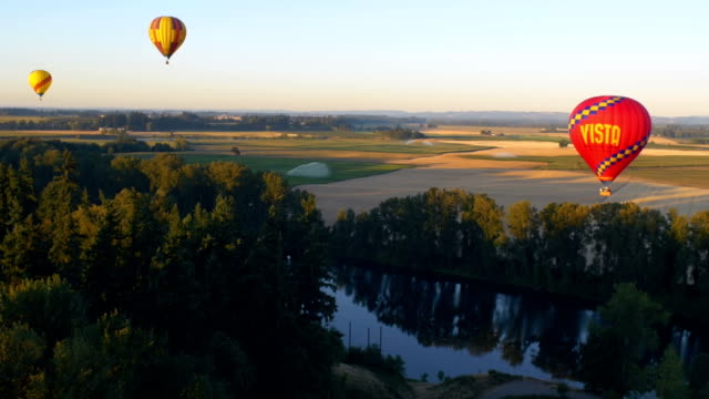 Balloons float over a river video