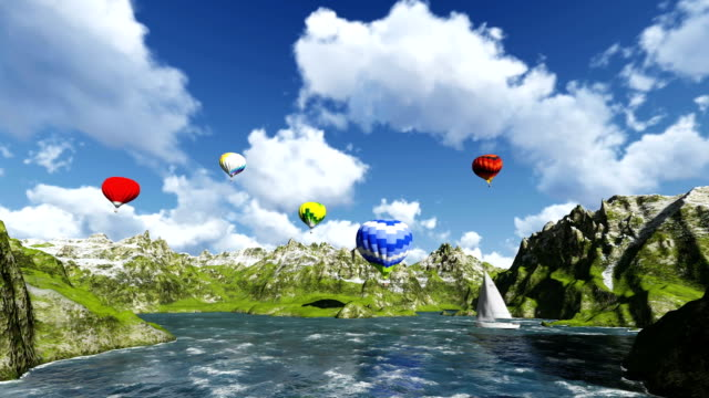 Balloons on mountains sea and animated clouds video