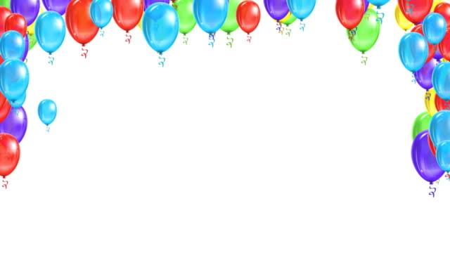 vidéos et rushes de ballons de fête. objets symboliques drôles. fond de ballons colorés. - en botte ou en grappe