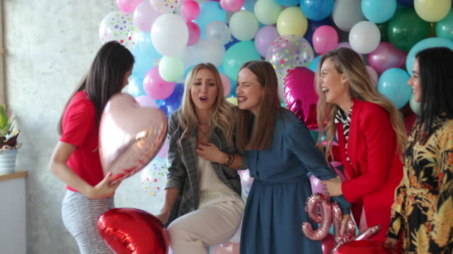 balloons will make anyone happy - bachelorette party stock videos & royalty-free footage