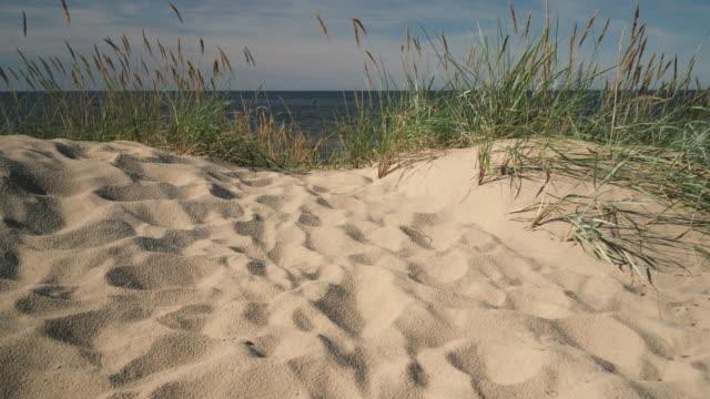 Baltic sea beach with vacationers Sandy beach of the Baltic Sea with vacationers on a hot summer sunny day. Vecaki, Riga. Latvia baltic countries stock videos & royalty-free footage