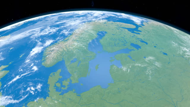 Baltic Sea, in the Scandinavian Peninsula, in planet earth, aerial view from outer space video