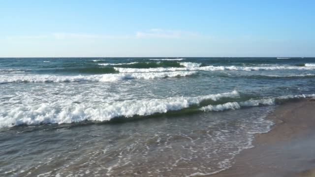 Baltic Sea - water waves. Beautiful blue sky and turbulent sea video
