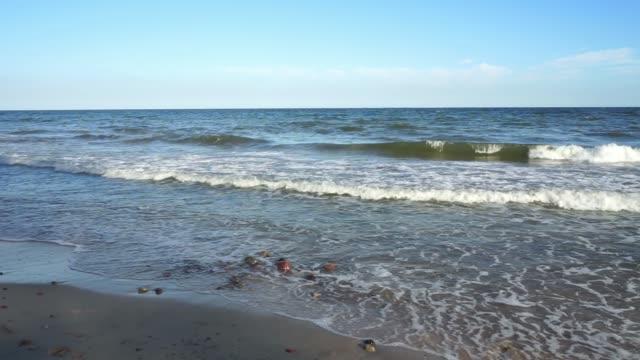 Baltic Sea - water waves. Beautiful blue sky and turbulent sea. video