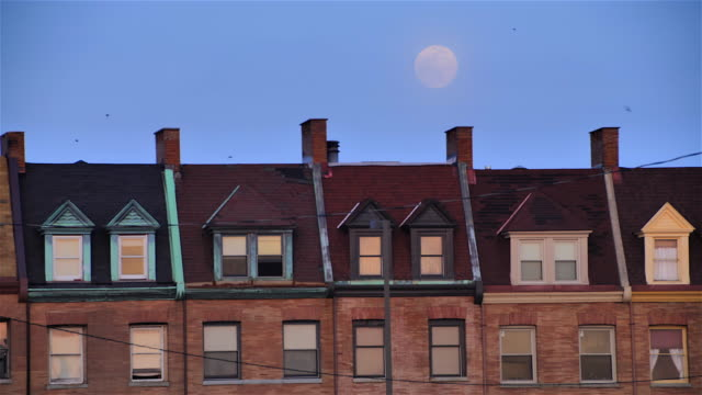 Baltimore Houses with Full Moon