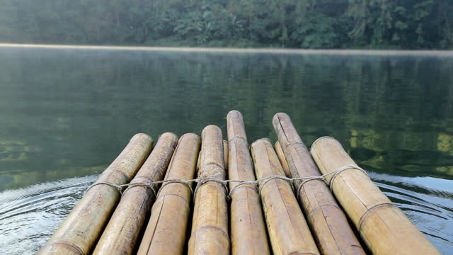Bamboo raft in the morning at Pang Ung (Pang Tong reservoir) in Mae Hong Son, Thailand video