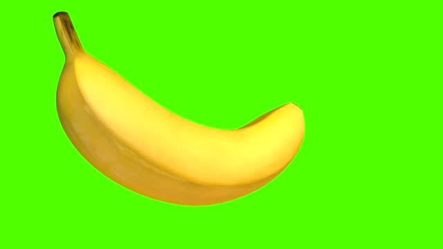 香蕉, 3d 動畫炊具, 隔離在綠色螢幕背景, 4k - 香蕉 個影片檔及 b 捲影像