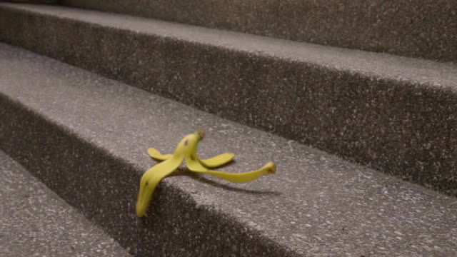 Banana Peels Falling on Stair Slomo video