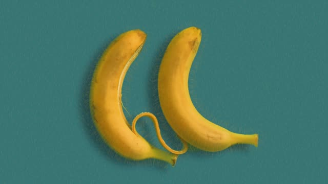 bananas love stop motion animation with real bananas background color stock videos & royalty-free footage