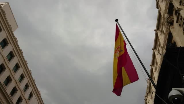 bandera española flamenado en museo naval de madrid - vídeo