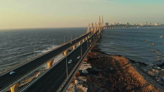 Bandra Worli Sea Link Aerial Drone shot, Mumbai City, 4k
