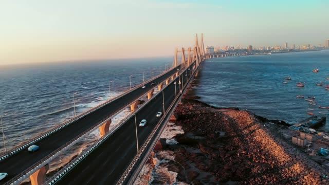 Bandra Worli Sea Link Aerial Drone shot, Mumbai City, Beautiful evening, 4k
