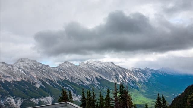Banff Massive Mountain Range Overlook Mt- Rundle Time Lapse 4K
