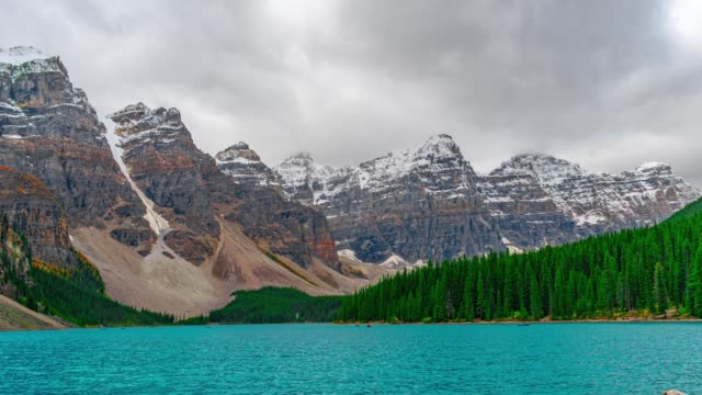 Banff National Park Morain Lake Kayak Paradise PAN IN Time Lapse 4K