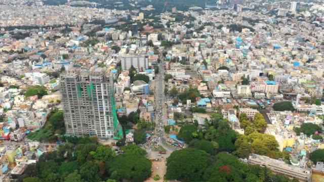 bangalore city famous botanical garden traffic street aerial panorama 4k india - vídeo