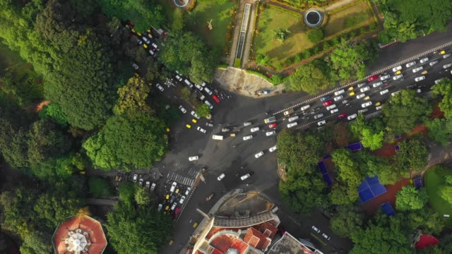 bangalore city traffic park street crossroad aerial topdown panorama 4k india