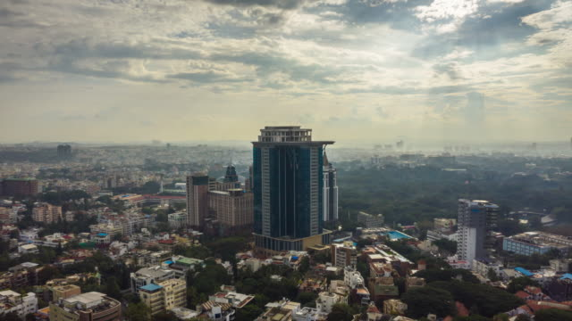 bangalore cityscape downtown aerial panorama timelapse 4k india