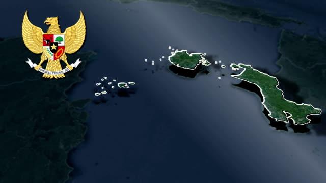 bangka belitung islands with coat of arms animation map - insygnia filmów i materiałów b-roll