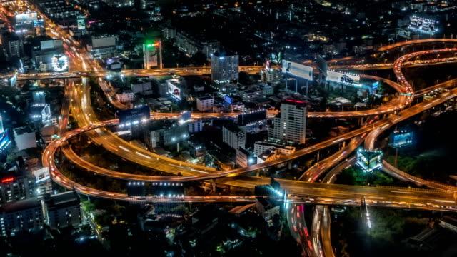 Bangkok at night. Timelapse video