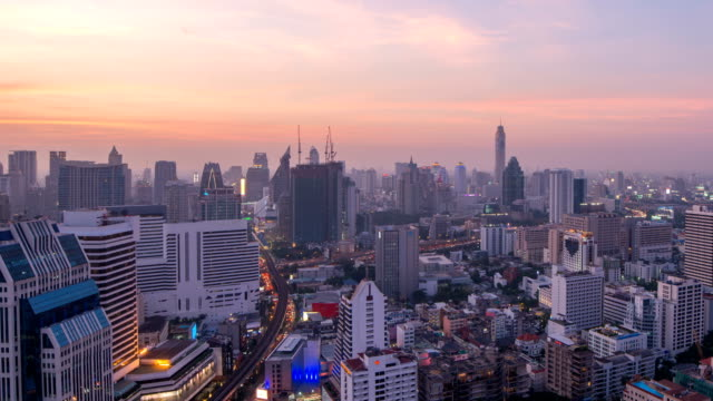 Bangkok Central Business District day to night timelapse video