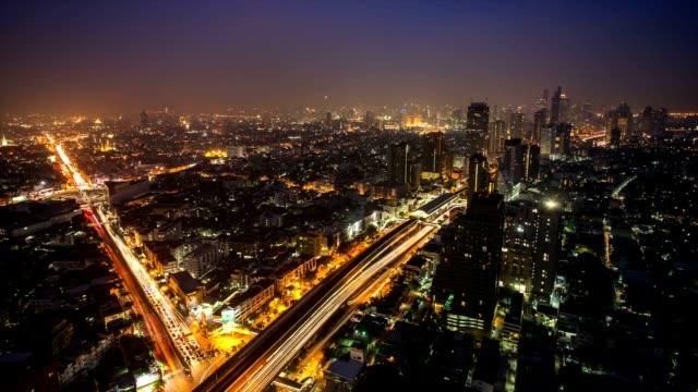bangkok city at twilight time lapse video