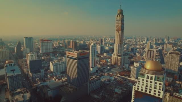 Bangkok City buildings,Aerial shot video