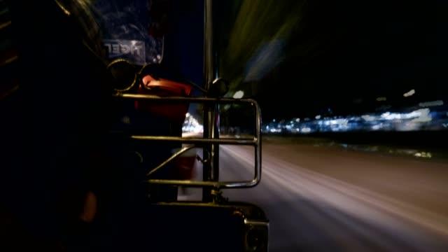 Bangkok city motion blur time lapse on tricycle or tuk tuk in bangkok thailand video