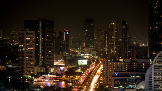 Bangkok City Skyline Aerial View At Night video