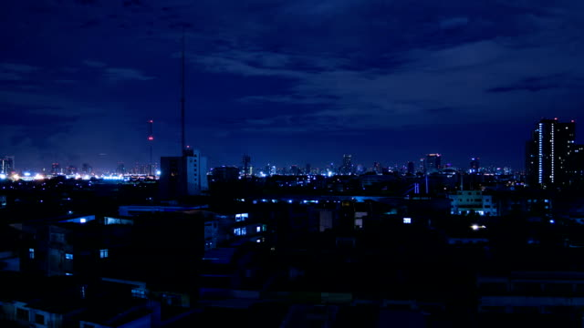 bangkok city skyline at night video
