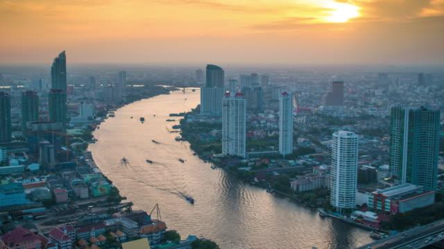 Bangkok Cityscape, Business district with high building at dusk (Bangkok, Thailand) – film