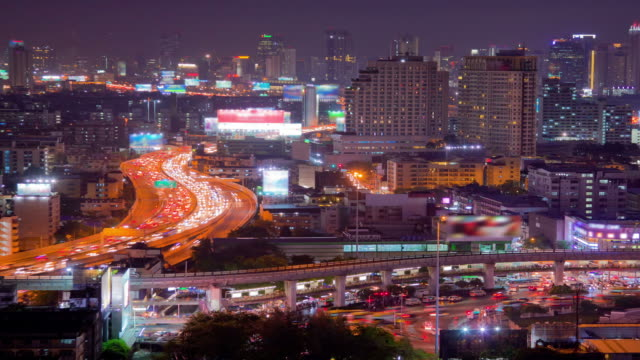 Bangkok Downtown Skyline Time Lapse Zoom Out video