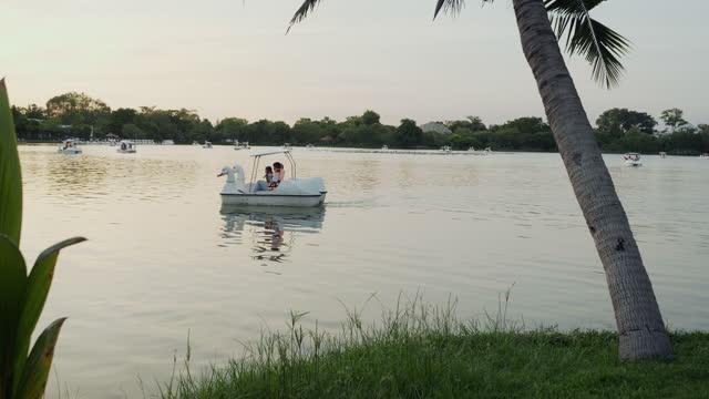 Bangkok Park Suan luang Rama IX at Sunset.