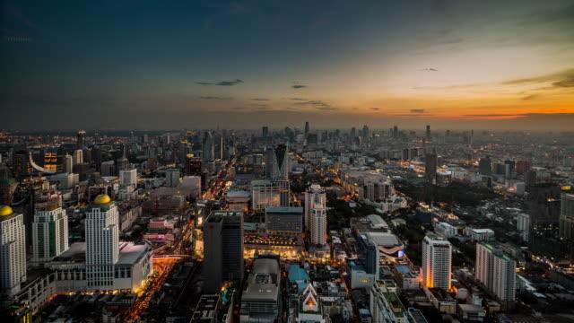 Bangkok Skyline Day to Night Timelapse video