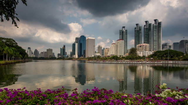 Bangkok Skyline Reflecting in Water Time Lapse video