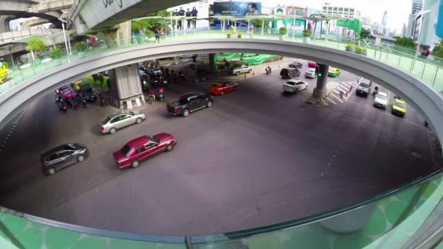 Bangkok tunnel intersection with traffic jam at Siam video