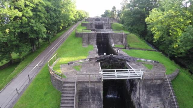 Bangles Five Rise Locks Aerial video