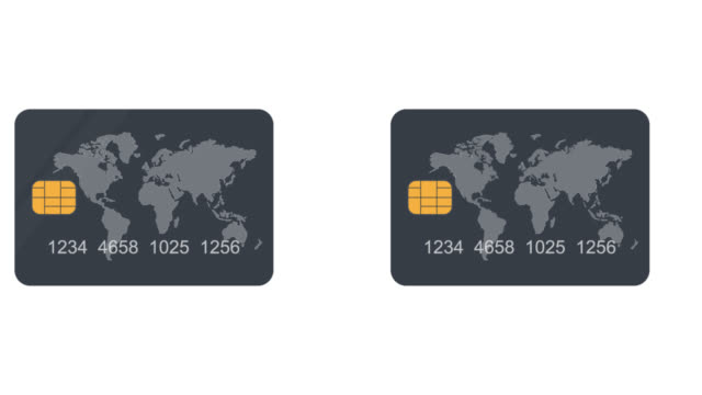 bank card. credit card animation. cartoon - credit card filmów i materiałów b-roll