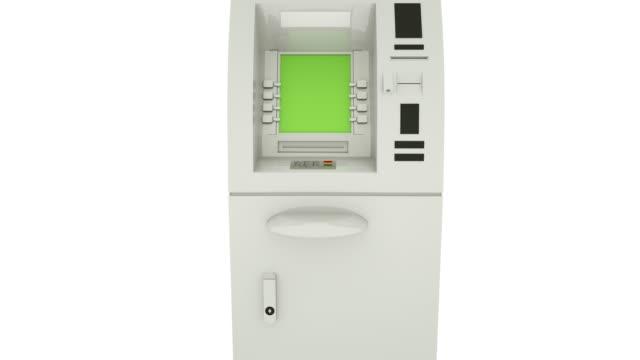 ATM Bank Cash Machine Green Screen Display. Zoom in