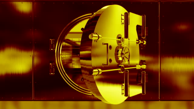 bank door opening gold - safes and vaults stock videos & royalty-free footage