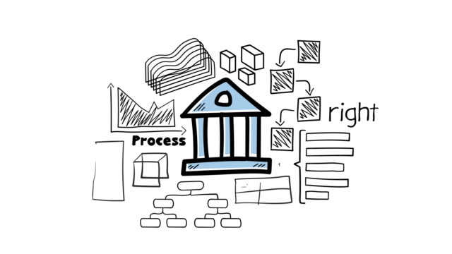 Bank icon and hand-drawn infographics Animation of hand-drawn freehand infographics with bank icon in center. financial building stock videos & royalty-free footage