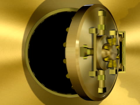 bank vault door gold transition (ntsc, pal) - safes and vaults stock videos & royalty-free footage