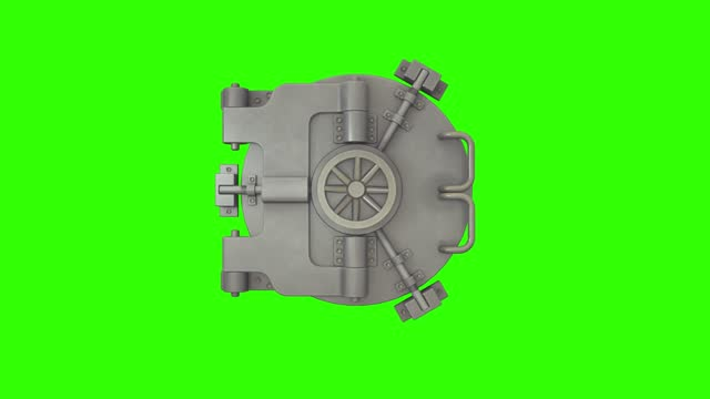 Bank vault door opening and camera slowly zooming in green screen Bank vault door opening and camera slowly zooming in green screen. safes and vaults stock videos & royalty-free footage